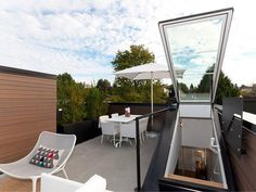 Glass access hatch leading to grass roof; perfect for star gazing with the hubby Glass access hatch leading to grass roof; perfect for star gazing with the hubby Roof Access Hatch, Roof Hatch, Roof Balcony, Patio Roof, Roof Design, House Design, Terrace Design, Skylight Blinds, Skylights