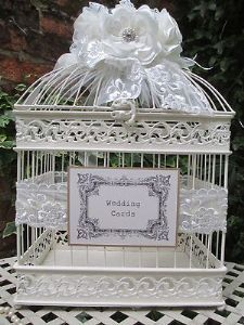 Vintage Cream Birdcage Wedding Card Post Box Lace Pearl Card Holder