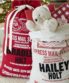 Personalized Santa bags! A fun way to organize each child's gifts - this personalized bag is meant to look like a special delivery from the North Pole!