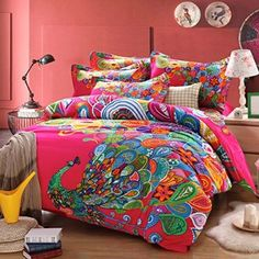 MeMoreCool Home Textile Modern Design Colorful Peacock Printing Upgrade 100% Cotton Bedding Set Fashion Country Style Wedding Duvet Covers Set Flounce Bed Sheets King Size 4Pcs