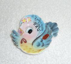 Vintage Lefton Bluebird Teabag Holder ESD Blue Bird by crazy4me