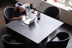 Massimo Vignelli at his desk