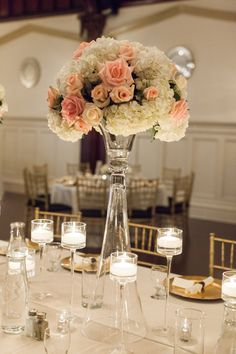 This formal ballroom wedding from Tara Francis Photography is absolutely gorgeous! Coral Centerpieces, Wedding Reception Centerpieces, Reception Decorations, Centerpiece Ideas, Tall Centerpiece, Destination Wedding Inspiration, Wedding Ideas, Wedding Stuff, Wedding Photos