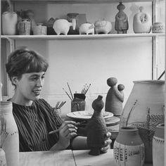 Lisa Larson. Swedish ceramic artist in her studio.