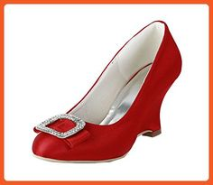 50ce7036698 Minishion Womens Wedge Red Satin Evening Party Bridal Wedding Pumps Shoes US