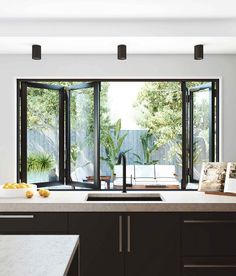 Bi-fold windows are perfect for a servery. A simple way to bring a café-like feel to your living areas. window : Bi-fold windows are perfect for a servery. A simple way to bring a café-like feel to your living areas. Home Decor Kitchen, Interior Design Kitchen, Kitchen Decorations, Home Renovation, Home Remodeling, Kitchen Remodeling, Window Styles, Sweet Home, New Homes