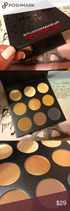 New Studio make up eyeshadow palette This is a gorgeous brand new Studio Make up on the go palette.  I have taken a few up close shots so you can see the gorgeous colors!  9 shades great for creating day and night looks.  Retails for $49.95. Studio Makeup Makeup Eyeshadow