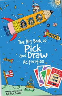 Book review of the book that accompanies the PICK AND DRAW card game, The Big Book of Pick and Draw Activities, compiled and edited by Rich Davis, book review, drawing, writing, art, helping autistic children, working with teens in grief