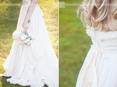 Lindee Daniel dress details... great photo of the back and the layers of natural silk and organic cotton.  From a seaside wedding at the Glen Manor House in RI.  Lindee Daniel designs eco-friendly, sustainable and natural wedding dresses!  #glenmanorhouse #lindeedaniel #dreamlove