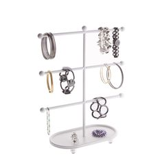 Bracelet Holder Tree Stand Jewelry Organizer Storage Rack Vanity Display wTray Amy Satin Nickel Silver * Continue to the product at the image link. Bracelet Organizer, Bracelet Holders, Hanging Jewelry Organizer, Bracelet Display, Jewelry Organization, Closet Organization, Jewelry Display Stands, Jewelry Stand, Jewelry Holder