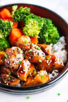 Quick, easy, simple chicken teriyaki meal prep done in less than 30 minutes with the BEST homemade teriyaki sauce.   aberdeenskitchen.com #chicken #teriyaki #bowls #mealprep #20minute #quick #recipe