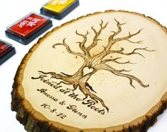 Custom Wedding Tree Slice Fingerprint Guestbook (Joined at the roots) Personalized. $65.99, via Etsy.
