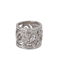 This Cubic Zirconia & Silvertone Filigree Ring by Amabel Designs is perfect! #zulilyfinds