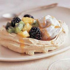 Brown Sugar Pavlovas with Fruit