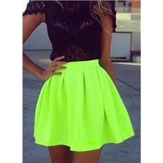 Neon Green Pleated Flare Skirt | Victoriaswing