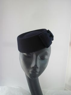 Navy blue pillbox by MIND YOUR BONCE  millinery  hats  HatAcademy Millinery  Hats 59345047cf80