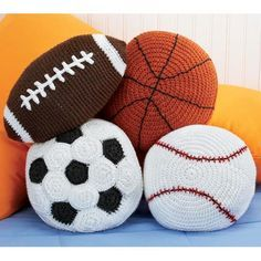 Sports Throw Pillows Pattern Booklet by Herrschners Set of 4 Crochet for sale online Crochet Ball, Crochet Home, Crochet Gifts, Cute Crochet, Crochet For Kids, Crochet Cushions, Crochet Pillow, Crochet Tools, Crochet Projects