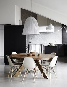 Eames DSW chair with round wooden table