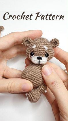 Crochet Teddy Bear Pattern Free, Teddy Bear Patterns Free, Crochet Bear Patterns, Amigurumi Patterns, Amigurumi Toys, Embroidery Patterns, Crochet Crafts, Crochet Projects, Cute Crochet