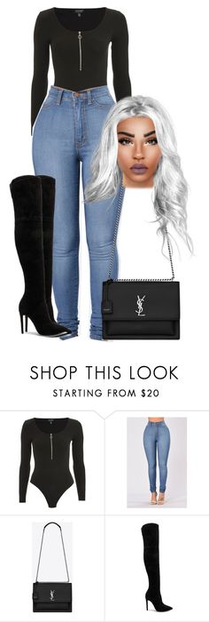 """Untitled #71"" by jahnaetakeoveer ❤ liked on Polyvore featuring Topshop and Yves Saint Laurent"