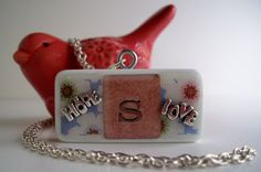 Domino Initial Necklace, Hope & Love, now taking custom orders, by ScatterCreations, SOLD