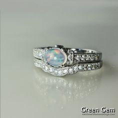 Opal Engagement Rings | Opal Engagement Ring and Matching Wedding Band Sterling Silver