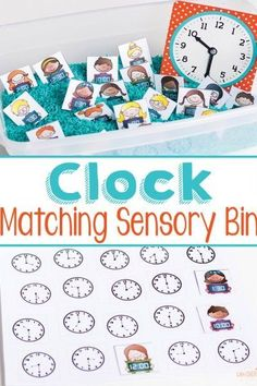 FREE Telling Time Matching Sensory Bin - What a fun way for kids to practice with clocks (math games, kindergarten, first grade, second grade, free printable)