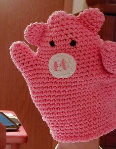 crochet bath mitten, OR hand-puppet