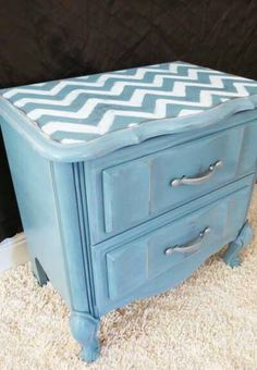 With this nightstand, I sanded, primed with Rustoleum primer and then I did a coat of espresso spray paint. I didn't love the espresso color, but I intended to sand through the top coat enough to s. Redo Furniture, Painted Furniture, Home, Refinishing Furniture, Home Diy, Furniture Makeover, Chevron, Nightstand Makeover, Chevron Pattern