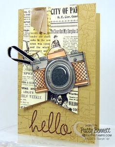 Snapshot camera stamp from Stampin' Up! with World Map background and Typeset designer paper. card by Patty Bennett www.pattystamps.com #stampinup #pattystamps