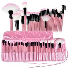 Pink 32 Pcs Make Up Tools Cosmetic Makeup Brush Set Kit + Pouch Bag Case