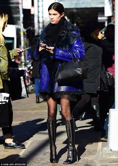 Model on the streets: Sara Sampaio was spotted in New York for fashion week heading over t...