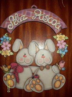 like the bunnies Tole Painting Patterns, Craft Patterns, Fabric Painting, Painting On Wood, Easter Crafts, Holiday Crafts, Handmade Crafts, Diy And Crafts, Arte Country