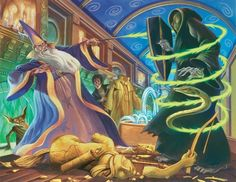 "Rare ""Harry Potter"" Illustrations From The Books' Artist - ""Dueling Wizards"" - Harry Potter and the Order of the Phoenix"