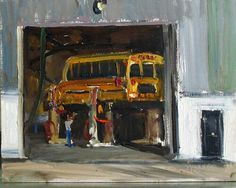 School Bus Lift Painting 8×10""