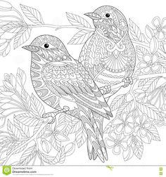 Zentangle Stylized Birds Stock Illustration - Image: 79038706