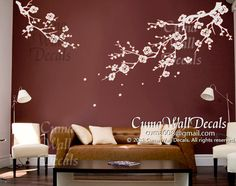 White cherry blossom wall decals nursery white flower wedding wall decal by cuma, $79.00