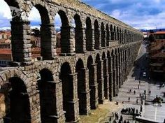 Aqueduct at Segovia, Spain. Aesthetics are never far from the Roman minds (color, idea of panorama, views and vistas) Trajanic in the way it marches to the city