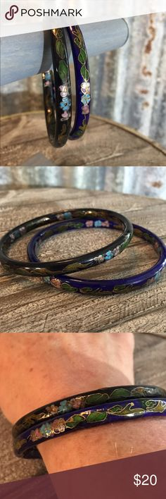 "New Listing Vintage Cloisonne Bracelets Set Vintage Cloisonne Bracelets Set in good condition. Bracelet set is very pretty with one bracelet being black & the other blue. Bracelets are about 8"". Don't pass these up. Thanks for looking.❤️❤️❤️ Vintage Jewelry Bracelets"