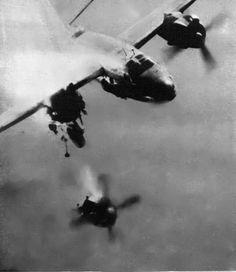 WWII - BOMBER (B-26) DAMAGE - ENIGINE FLYING OFF!