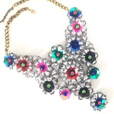 """NEW """"Don't Be Shy"""" Florette Statement Bib Necklace New gorgeous statement necklace. Haven't come across a piece this fabulous in a long time. The rhinestone piece is approx 8.5""""x8.5"""" big. The length of the necklace is approx 18.25"""" long with a lobster clasp and 2.5"""" extender. This piece will WOW everyone! LAST PIECE Jewelry Necklaces"""
