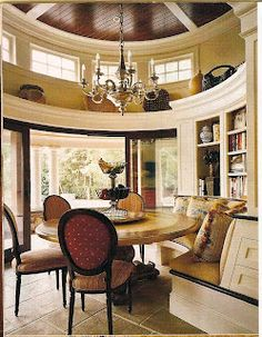 now that's a sunroom - round dining cove with vaulted ceilings that leads to a covered outdoor living room. Elegant Dining Room, Dining Room Design, Dining Rooms, Dining Area, Kitchen Dining, Dining Table, Elegant Homes, My Dream Home, Great Rooms