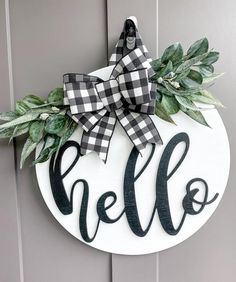 Wood Front Doors, Front Door Signs, Front Door Decor, Wooden Wreaths, Door Wreaths, Ribbon Decorations, House Decorations, Hello Wood, Stained Front Door
