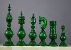 splitbishop green chess pieces. the opposing color is white.