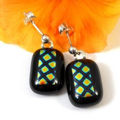Yellow Gold and Black Drop Earrings, Checked Dichroic Fused Glass  | ResetarGlassArt - Jewelry on ArtFire