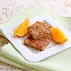 ORANGE CINNAMON CUSTARD PROTEIN BARS ~ These bars have a custard like texture thanks to the sweet potato and no added flours aside from the protein powder.  The mixture could make a fantastic filling for a protein crust, if you want a richer treat or dessert.