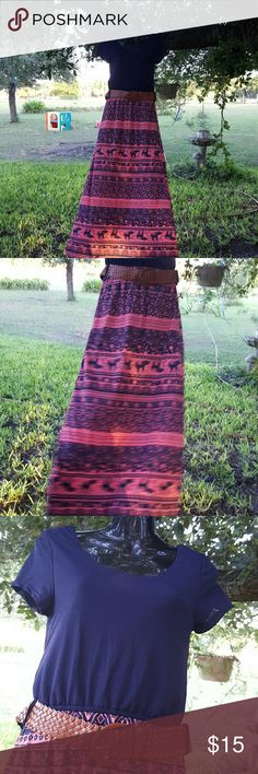 New Pink and Blue Maxi Dress Attached Belt Size M This is a beautiful dress in pink and dark blue. The skirt part has a nordic/ethnic pattern with elephants and flowers. Maxi Dress with a belt attached.  Size M Rue 21 Dresses Maxi