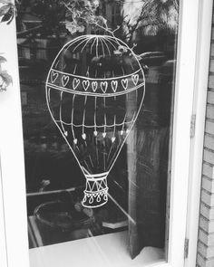 #mayo #krijtstift #raamtekening #airballoon #ookinopdracht
