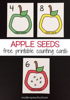 Counting apple seeds with free printable counting cards (numbers for preschoolers. Strengthen fine motor skills while practice numbers. Preschool Apple Theme, Apple Activities, Numbers Preschool, Fall Preschool, Preschool Activities, Preschool Apples, September Preschool, Apple Unit, Apple Seeds