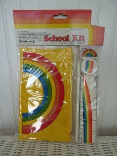 School Supplies - Vintage 70s Rainbow Pencil Case